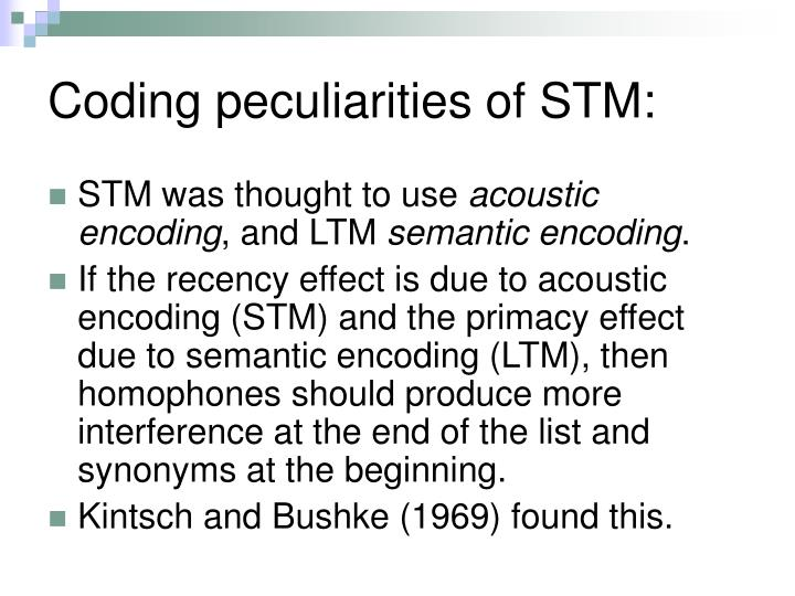 Coding peculiarities of STM: