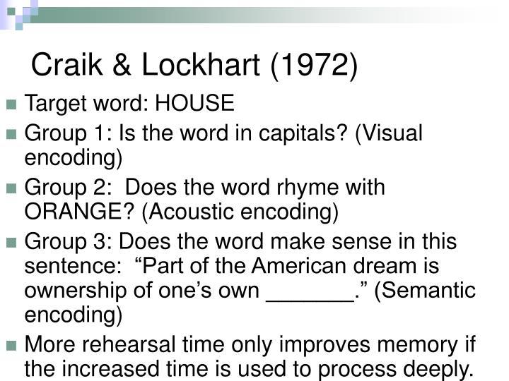 Craik & Lockhart (1972)