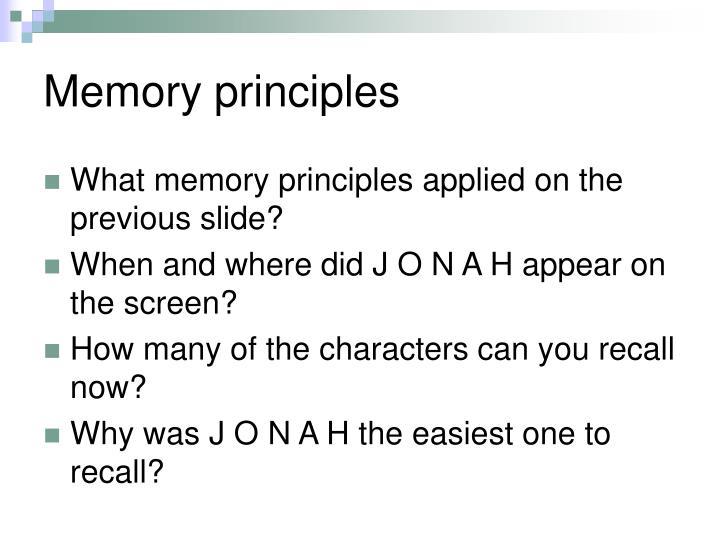 Memory principles