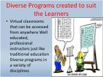 diverse programs created to suit the learners