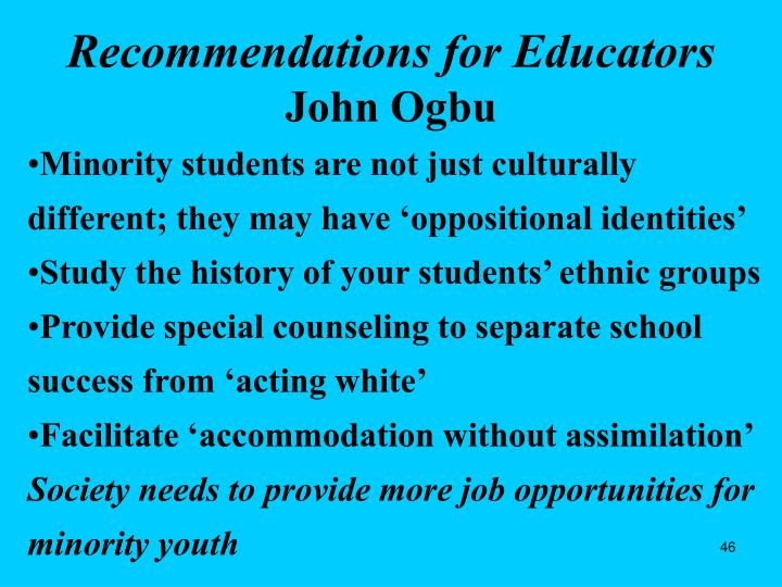 Recommendations for Educators