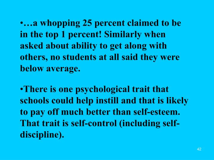…a whopping 25 percent claimed to be in the top 1 percent! Similarly when asked about ability to get along with others, no students at all said they were below average.