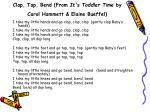 clap tap bend from it s toddler time by carol hammett elaine bueffel