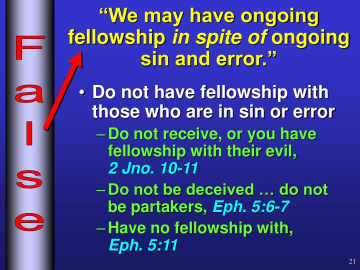 """""""We may have ongoing fellowship"""