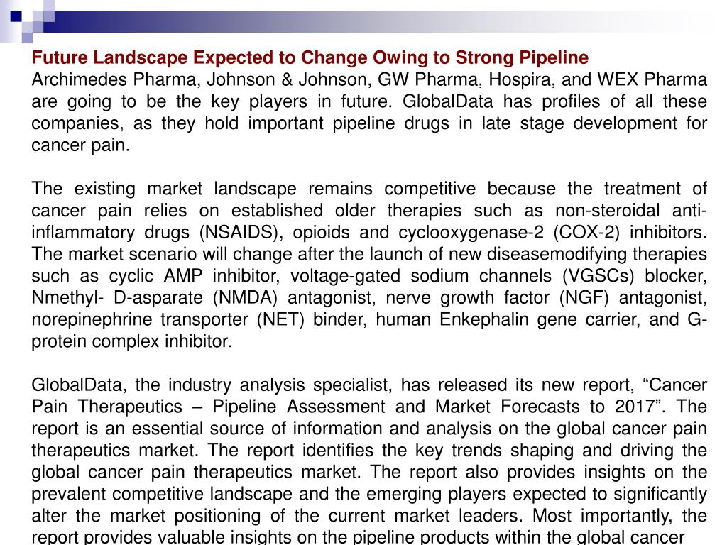 Future Landscape Expected to Change Owing to Strong Pipeline