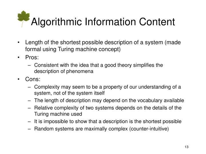 Algorithmic Information Content