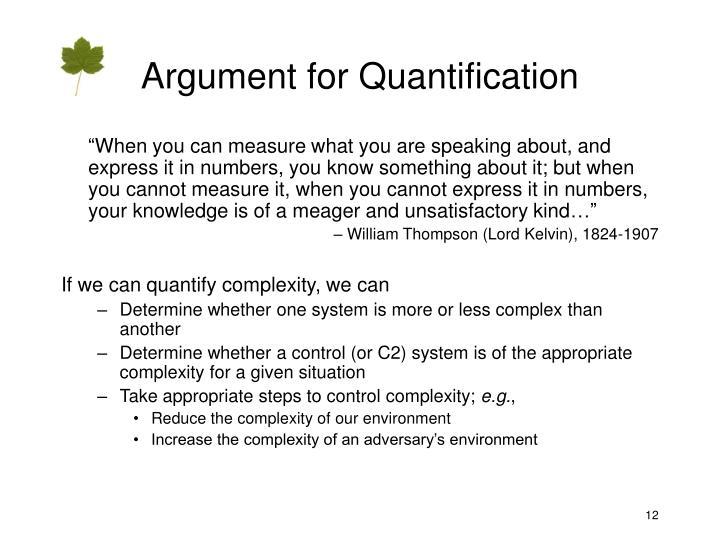 Argument for Quantification
