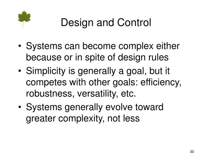 Design and Control