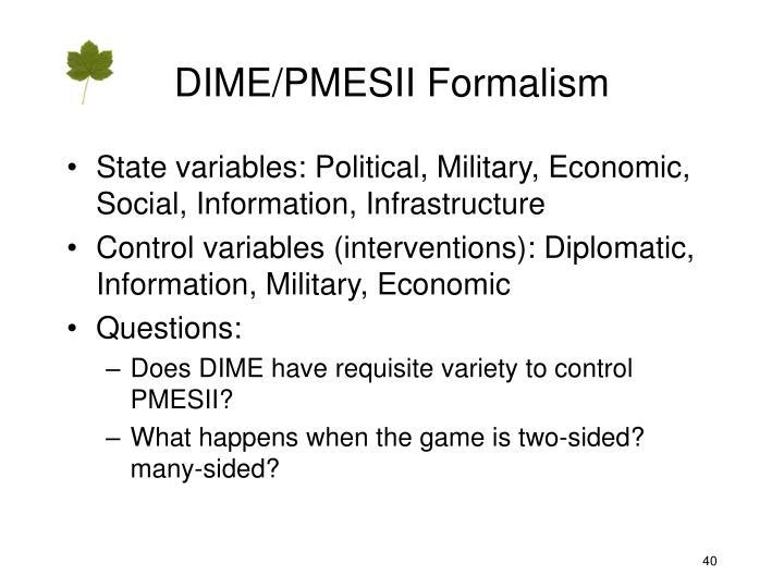 DIME/PMESII Formalism