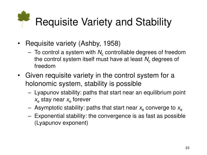 Requisite Variety and Stability