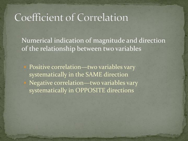 Coefficient of Correlation