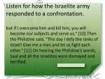 listen for how the israelite army responded to a confrontation1
