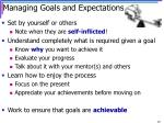 managing goals and expectations