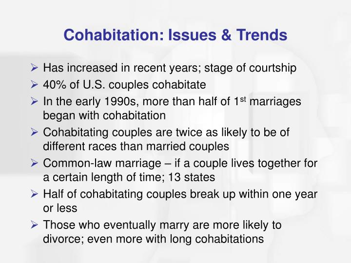 Cohabitation: Issues & Trends