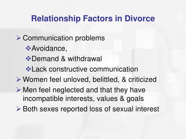 Relationship Factors in Divorce
