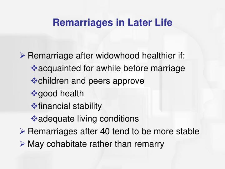 Remarriages in Later Life