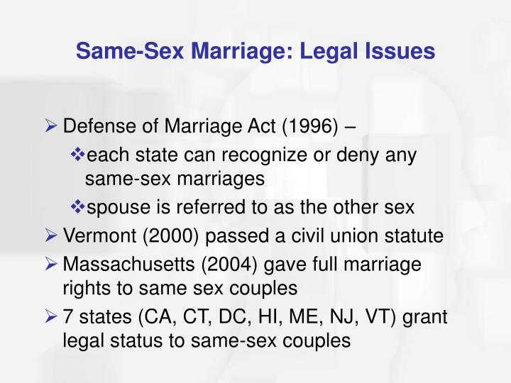 Same-Sex Marriage: Legal Issues