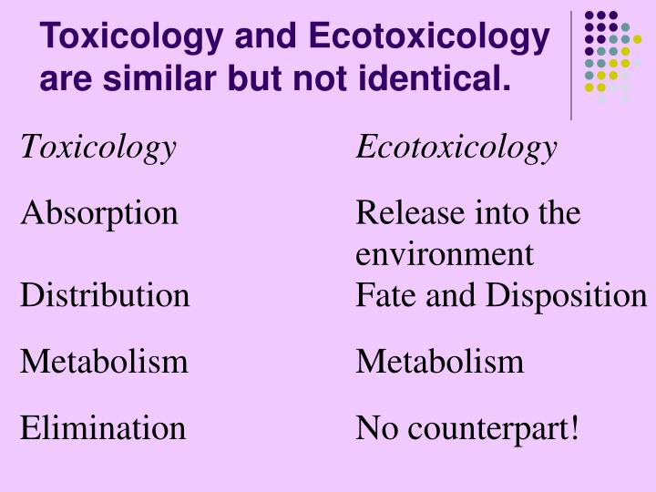 Toxicology and Ecotoxicology are similar but not identical.