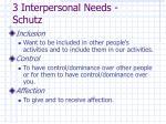3 interpersonal needs schutz