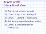axioms of the interactional view