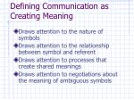 defining communication as creating meaning