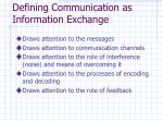 defining communication as information exchange