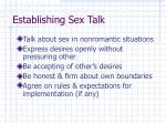 establishing sex talk