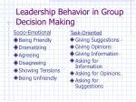 leadership behavior in group decision making