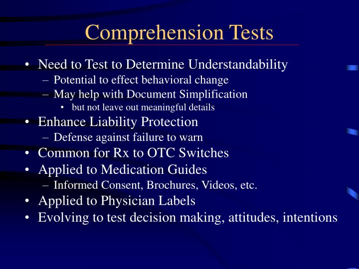 Comprehension Tests