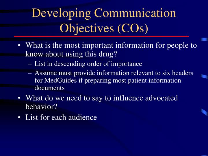 Developing Communication Objectives (COs)