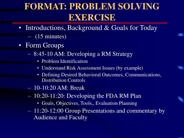 Format problem solving exercise