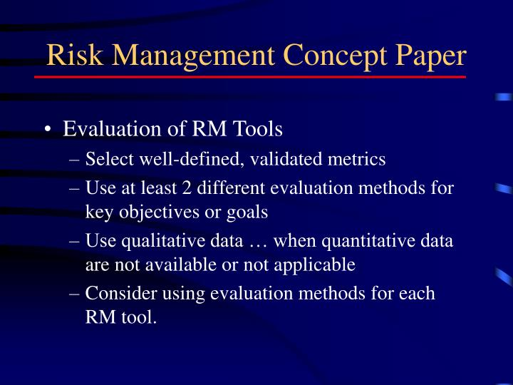 Risk Management Concept Paper