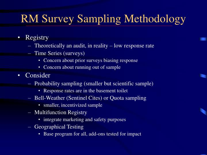 RM Survey Sampling Methodology