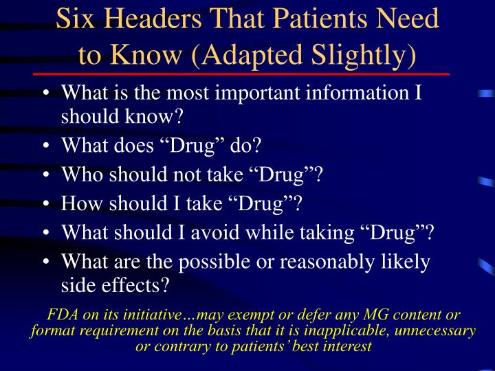 Six Headers That Patients Need to Know (Adapted Slightly)