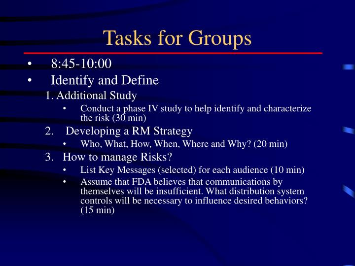 Tasks for Groups