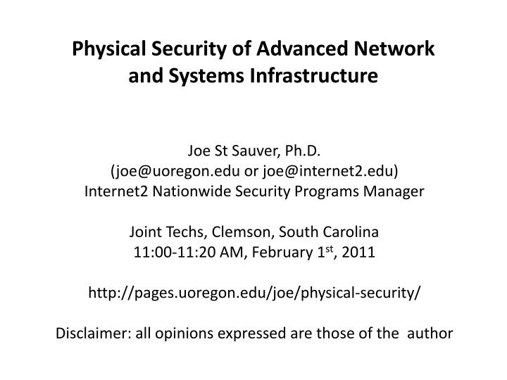 physical security of advanced network and systems infrastructure n.