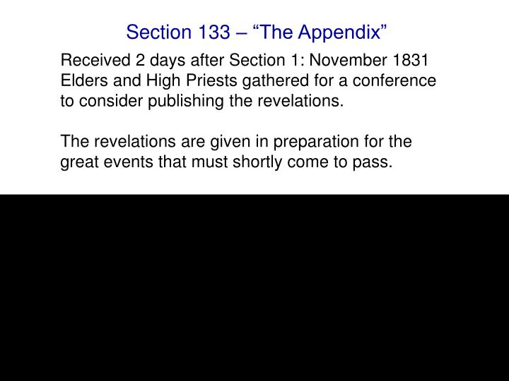 "Section 133 – ""The Appendix"""