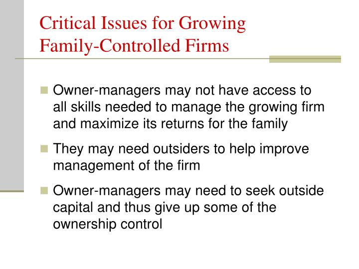 Critical Issues for Growing Family-Controlled Firms
