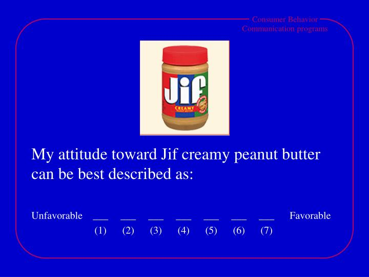My attitude toward Jif creamy peanut butter can be best described as: