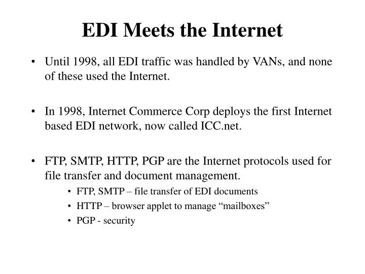 Until 1998, all EDI traffic was handled by VANs, and none of these used the Internet.