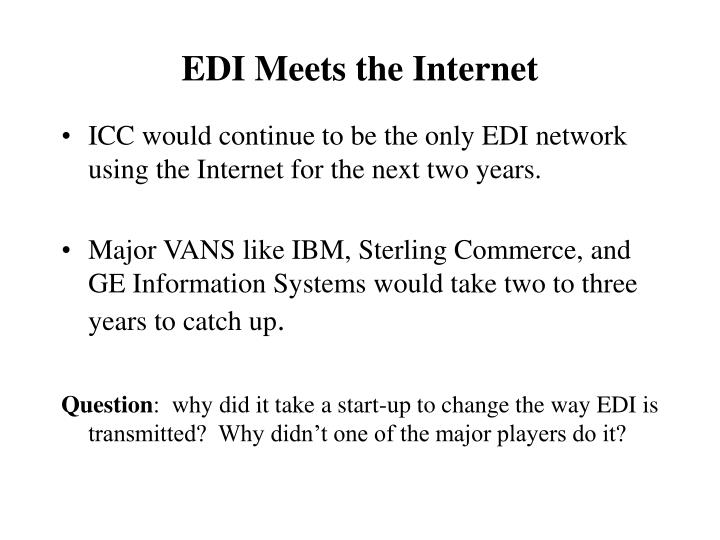 ICC would continue to be the only EDI network using the Internet for the next two years.