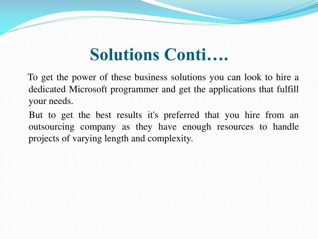 Solutions Conti….