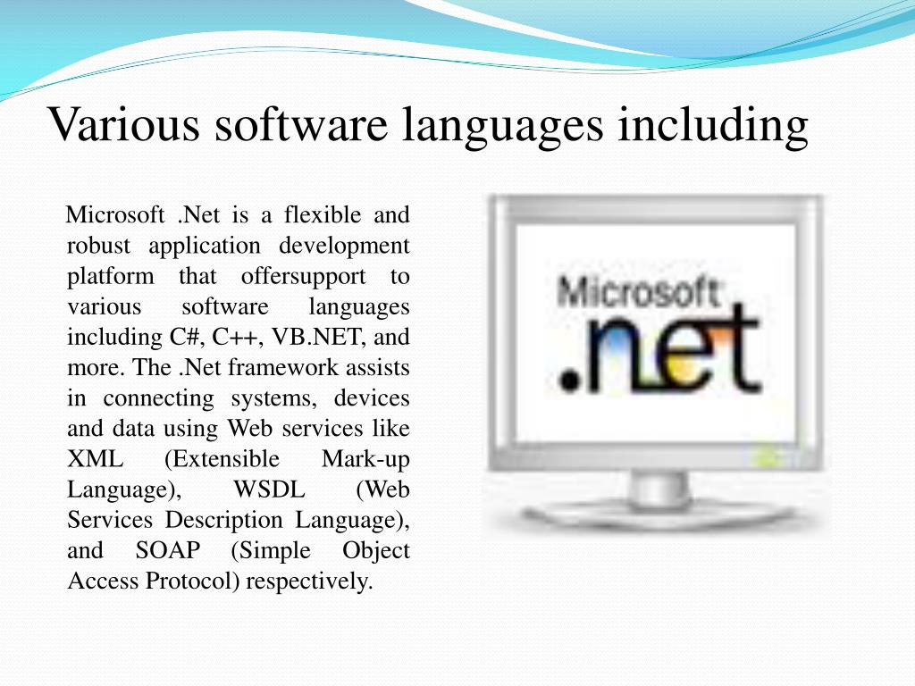 Various software languages including