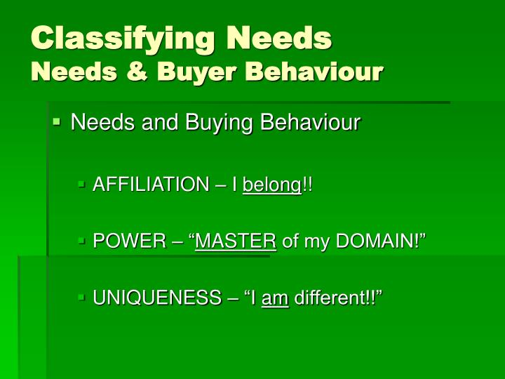 Classifying Needs