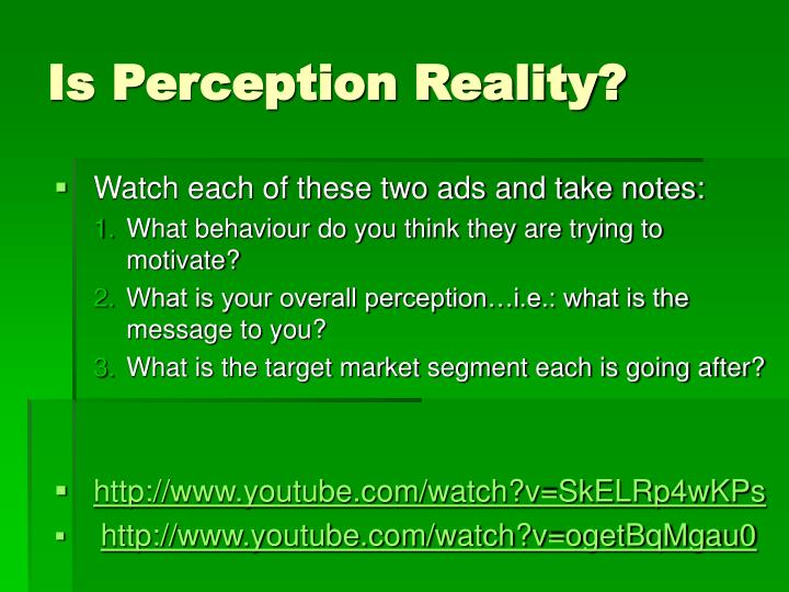 Is perception reality