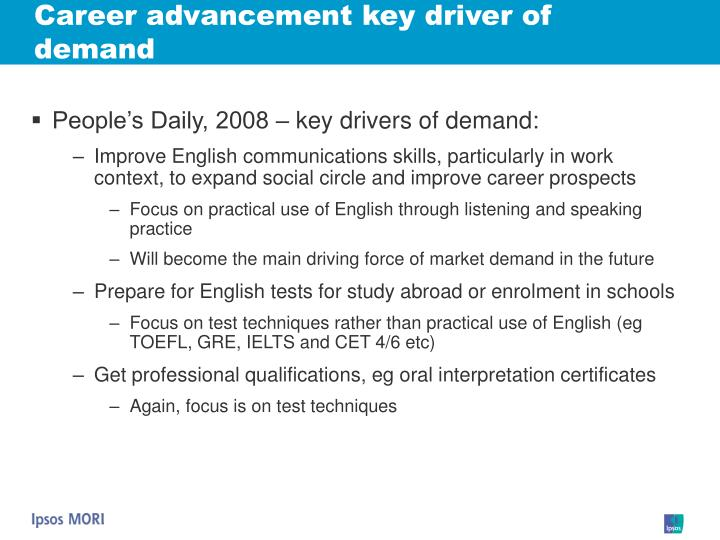 Career advancement key driver of demand