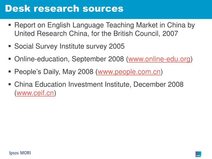 Desk research sources