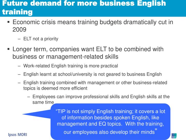 Future demand for more business English training