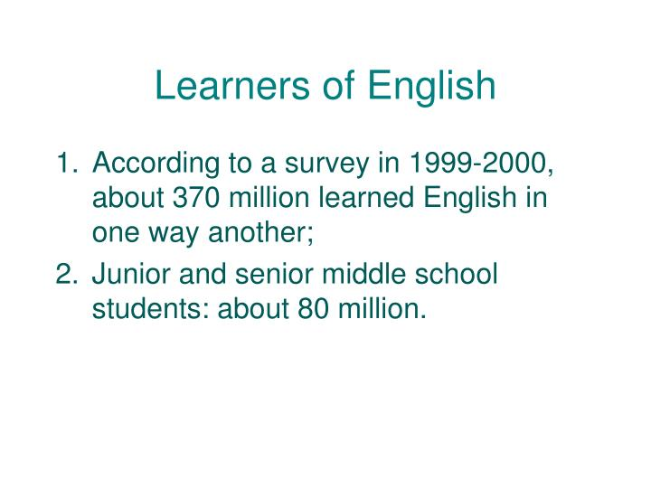 Learners of English