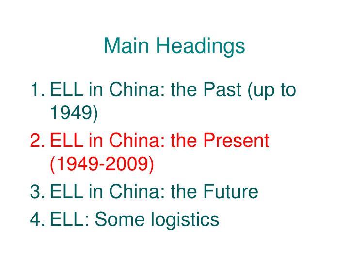 Main Headings
